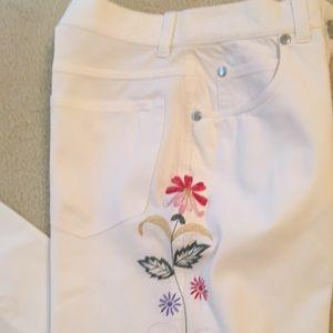 Piazza Sempione Embroidered White Cotton Jeans
